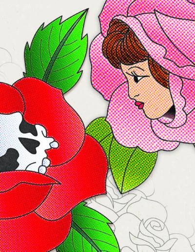 Tattoo Roses Comic book texture